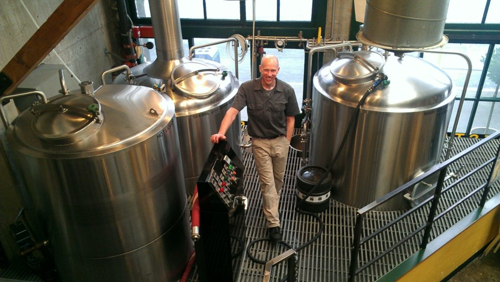 Brewer Larry Chase on the brew deck
