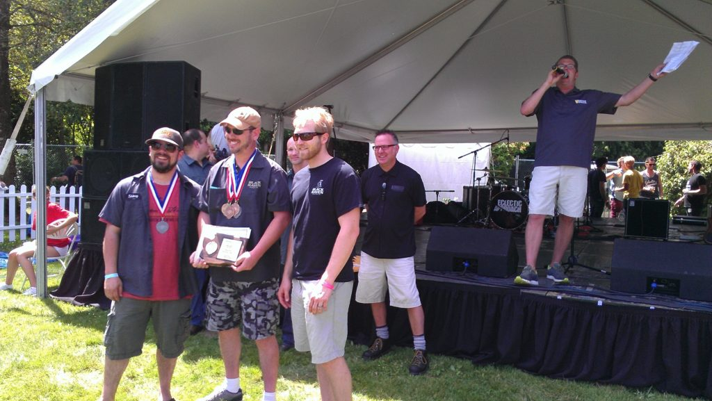 The winning crew from Black Raven Brewing, owner/brewer Beaux Bowman in the middle