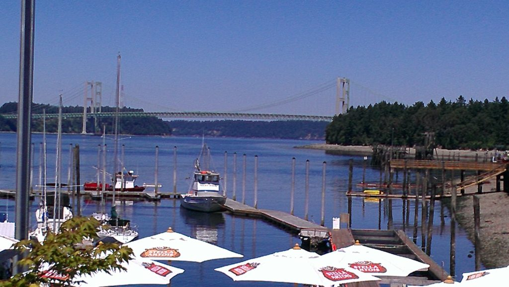 Tacoma Narrows Bridge as seen from the tasting room