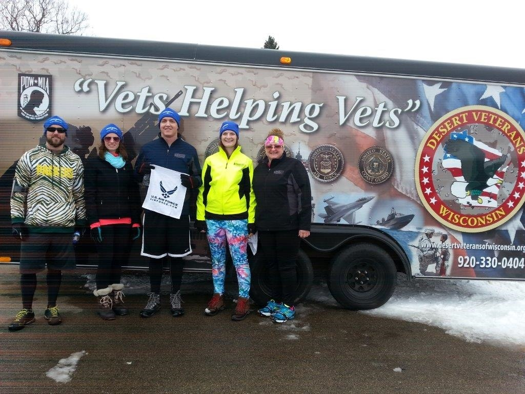 Briess employees participate in local Winter Warrior Event. From left to right: Jordon Guerts, Cassie Liscomb, Jason Ader, Amber Ader, and Lisa Manz.